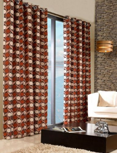 STYLISH TRENDY RINGTOP EYELET LINED CIRCLE PATTERN CURTAINS TERRACOTTA & ORANGE COLOUR